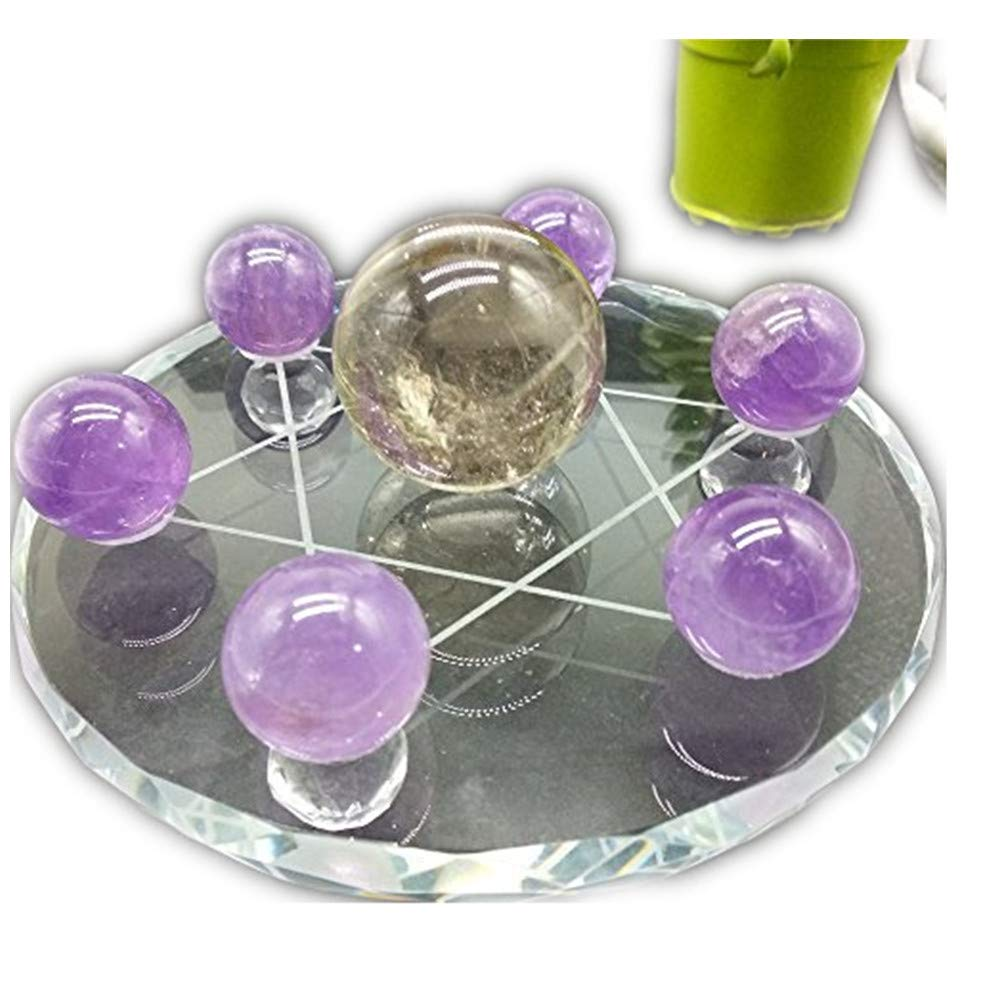 LIXUAN Feng Shui Seven Star Group Natural Crystal Chakra Sphere Ball with Clear Glass Crystal Stand (Purple)