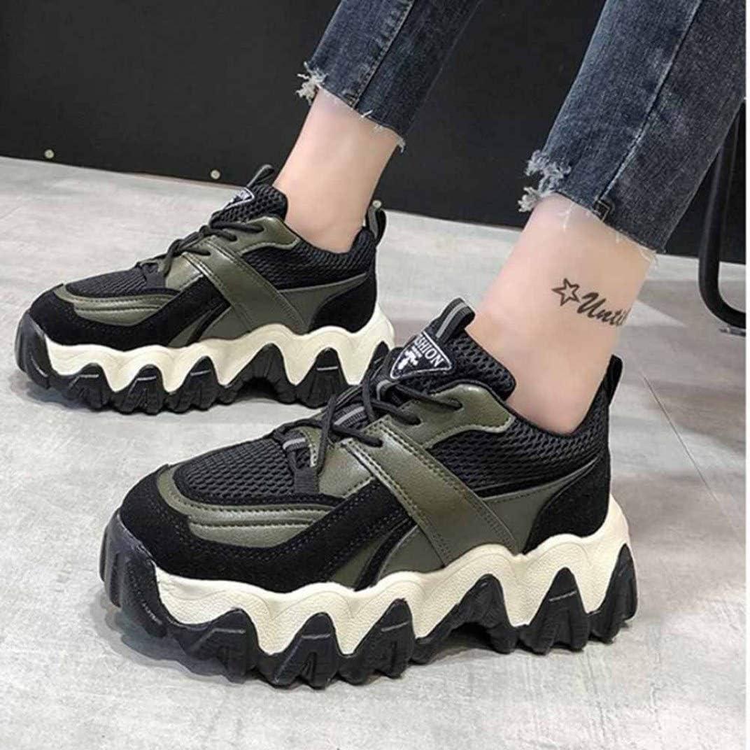 LangfengEU Chaussures en Printemps pour Femme de Sport Outdoor en Casual Tendance de Fond Épais Montante a Lacets Endurance Antichoc Noir