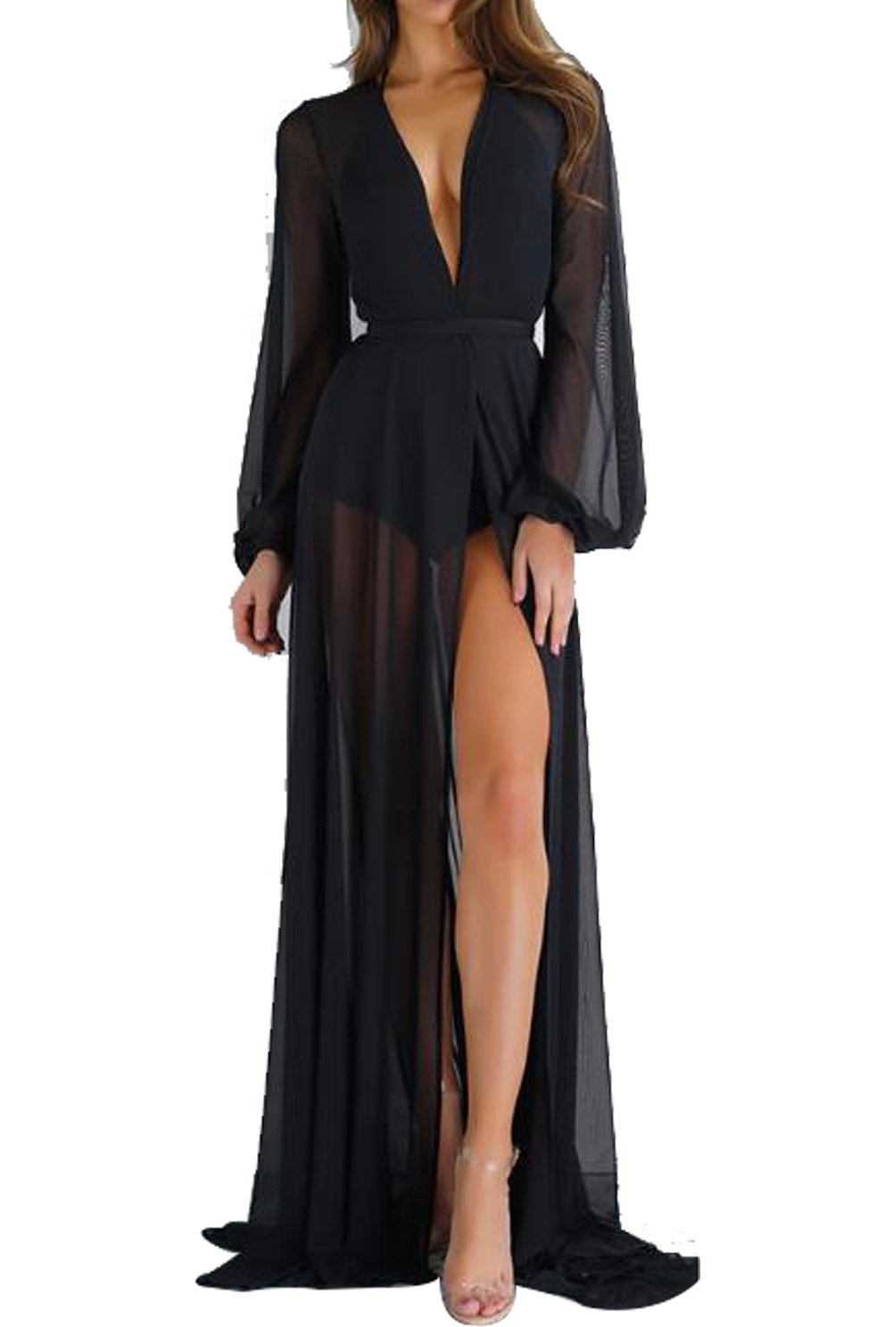 Women's Sexy Sheer Mesh Belted Solid Short/Long Sleeve Cover up Kimono Cardigan Size L (Black)