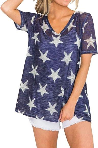 Mujeres Camiseta De Manga Corta Casual Blusa Suelta V-Cuello Estampado De Estrellas Perspectiva Camisa para Mujer Informal Verano T-Shirt Wyxhkj: Amazon.es: Ropa y accesorios