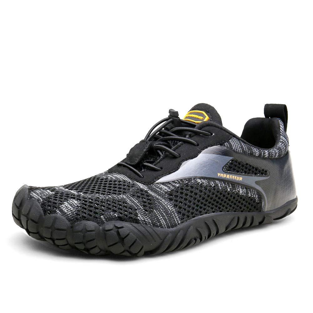 Oberm Mens Trail Running Shoes Minimalist Barefoot 5 Five Fingers Wide Width Toe Box Gym Workout Fitness Low Zero Drop Male Yoga Zumba Comfortable Pilates Heel Black