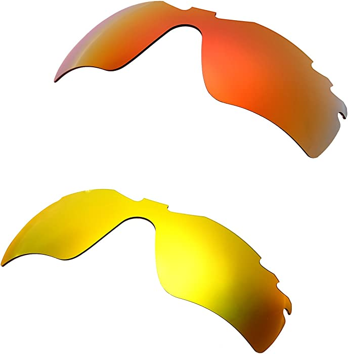 ea36b37020b Amazon.com  Hkuco Plus Mens Replacement Lenses For Oakley Radar Path-Vented  Red 24K Gold Sunglasses  Clothing