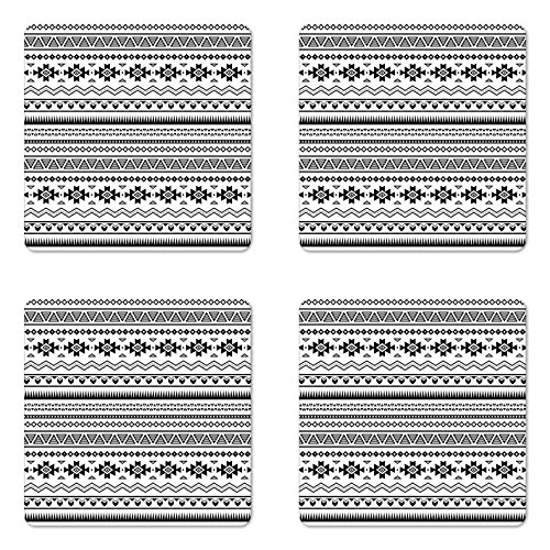 Ambesonne Native American Coaster Set of Four, Aztec American Folkloric Art Borders Ancient Tribal South America Culture, Square Hardboard Gloss Coasters for Drinks, Black White
