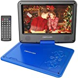"DBPOWER 11.5"" Portable DVD Player, 5-Hour Built-in Rechargeable Battery, with 9"" Swivel Screen, Support CD/DVD/SD Card/USB, with Remote control, 1.8M Car Charger and Power Adaptor (Blue)"
