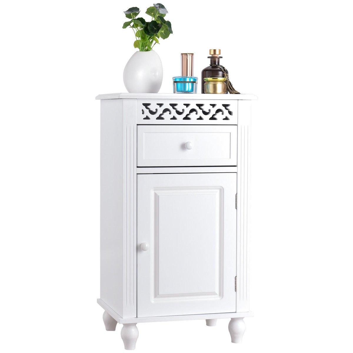 Cabinet Floor Storage Bathroom Organizer Floor Wood Kitchen White Shelf Furniture Drawer 2 Shelves Pantry
