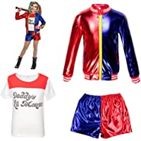 Abbigliamento per Bambini Bambina Suicide Squad Harley Quinn FancyDress CosplayCostume Outfit Coat Shorts T-Shirt Set Red
