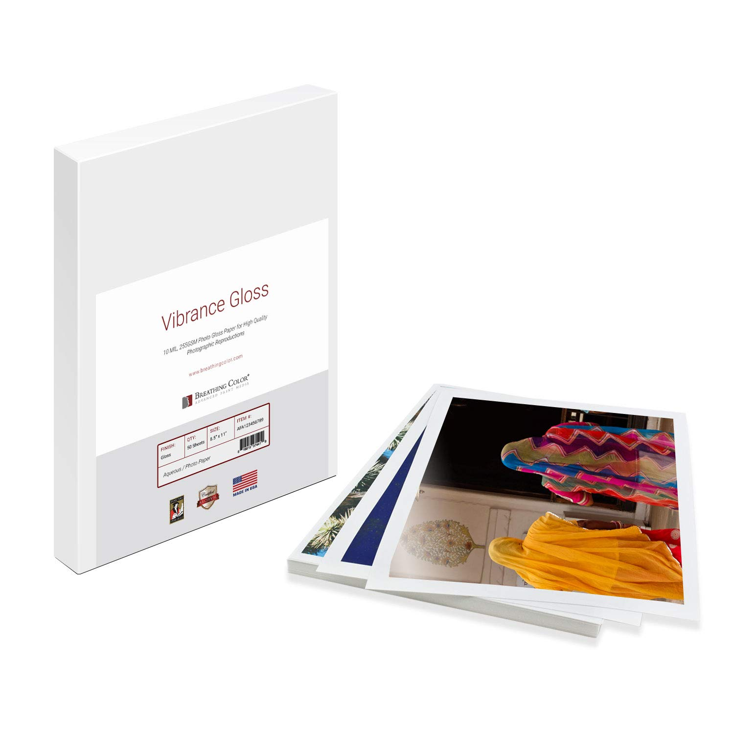 Vibrance Gloss Photo Printer Paper 10 mil 255 gsm Glossy Finish Premium Photo Paper Sheets 17 inches x 22 inches 50 sheets Works with All Inkjet Printers Including Professional Makes and Models