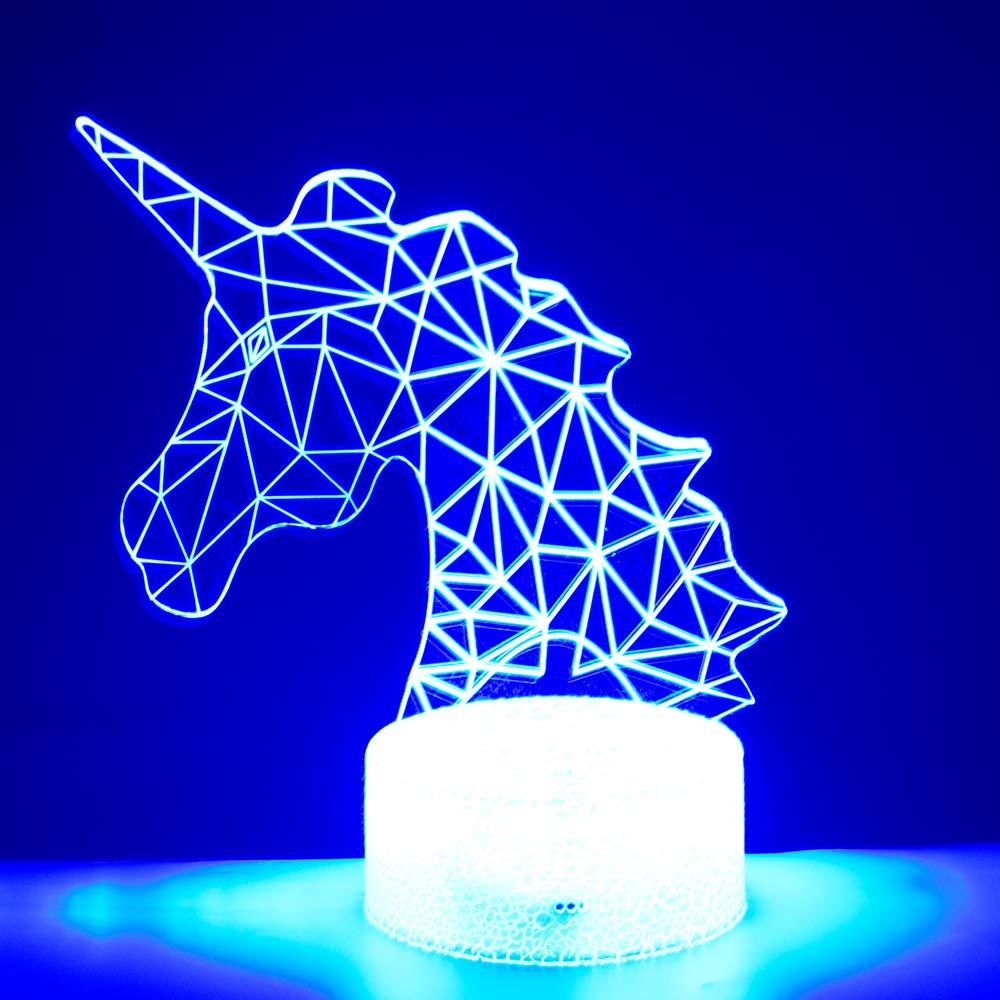 Hlearit Unicorno 3D Illusion Luce Notturna Unicorno Forniture per Feste per Bambini Plug-in Lampada da Tavolo a LED Acrilico con Telecomando Cambiando 7 Colori Compleanno Regali per Feste