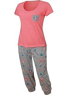 Damen Schlafanzug Kurz Capri Hose 3 4 Damen Pyjama Kurzer Damen Nachthemd  Kurz aus 100 549f7a1ae0