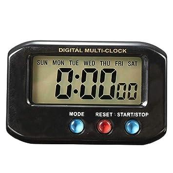 LMSHM Despertador LCD Coche Temporizador Digital Calendario Fecha Reloj Despertador Cronómetro Función Snooze con Led Luz De Noche Anillo De Alarma ...