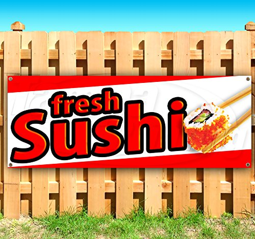 Fresh Sushi 13 oz Heavy Duty Vinyl Banner Sign with Metal Grommets, New, Store, Advertising, Flag, (Many Sizes Available)