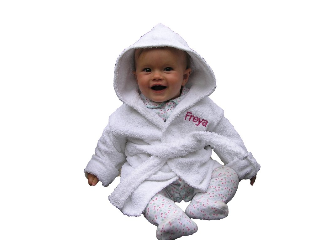 EFY White Baby Hooded Bath Robe or White Hooded Towel with a PRINCESS CROWN Logo and Name of your choice. (Hooded Towel 0-5 years)