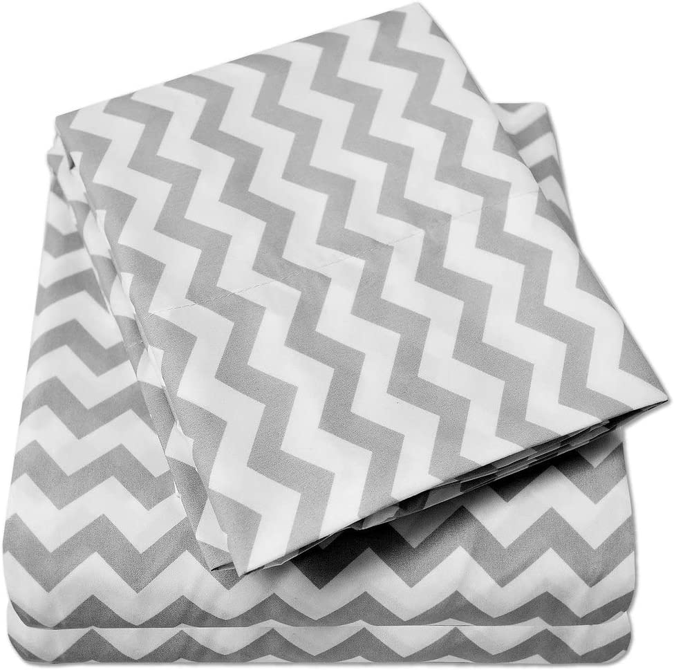 1500 Supreme Collection Bed Sheets - Luxury Bed Sheet Set with Deep Pocket Wrinkle Free Hypoallergenic Bedding - 4 Piece Sheets - Chevron Print- Queen, Gray