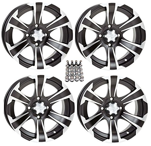 ITP SS312 ATV Wheels/Rims Black 12″ Honda Foreman Rancher SRA Solid Axle (4)