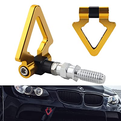 DEWHEL Triangle Tow Hooks Ring Front Rear Gold Fits Euro Auto BMW E46 E81 E30 E36 E90 E91 E92 E93 1 3 5 6 7 Series & Mini Cooper: Automotive