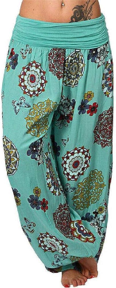 Pantalones de Mujer Cordón Flojo con Estampado Floral Pantalones Anchos Ocasionales Pantalones de Verano Femeninos Pantalones de chándal Largos de Moda