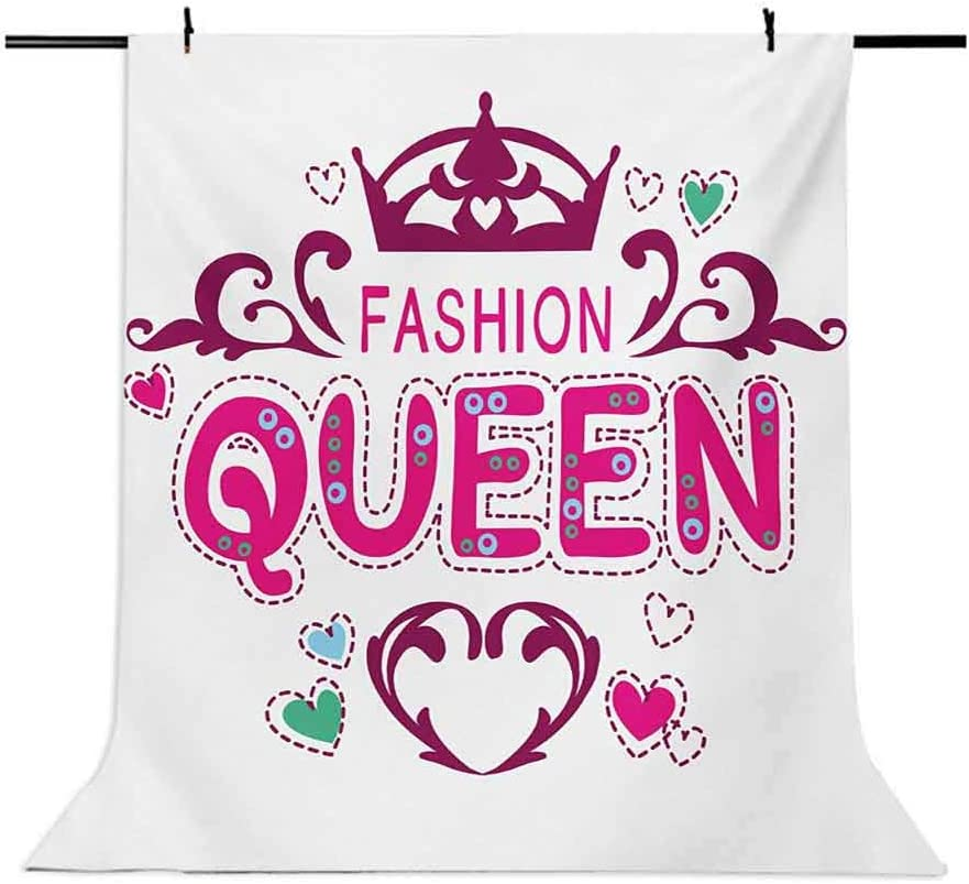 Queen 6.5x10 FT Backdrop Photographers,Girlish Print Fancy Fashion Queen Lettering Floral Heart Shaped Ornaments Cute Background for Photography Kids Adult Photo Booth Video Shoot Vinyl Studio Props