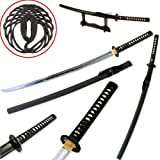 Traditional Handmade Sharp Katana Samurai Sword with Scabbard And Single Sword Wood Stand - Choose you Handle (Tsuba) style