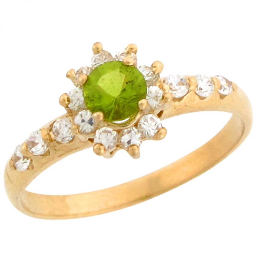 14k Real Gold White CZ Accent Simulated Peridot August Birthstone Ring by Jewelry Liquidation