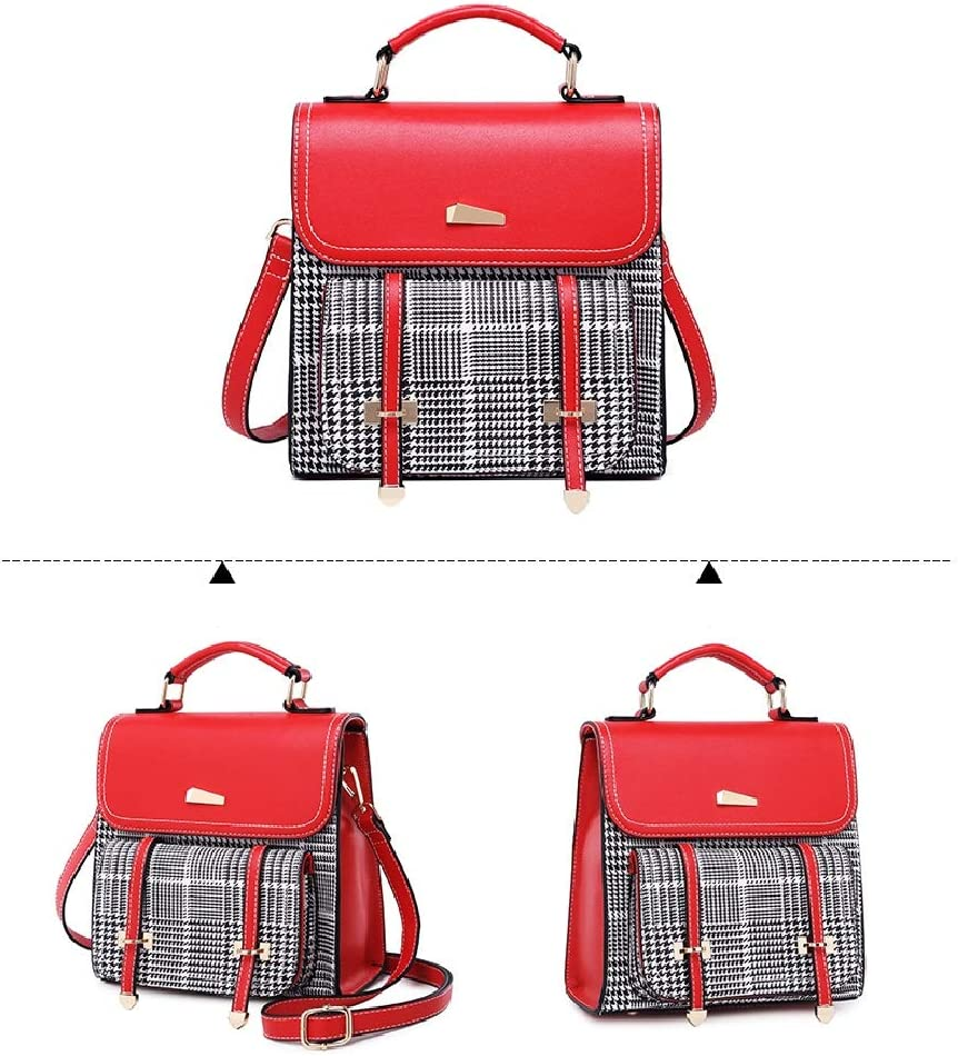 C /& S Simple Lattice Backpack Lady Leisure Outdoor Shopping Multifunctional Fashion Single Shoulder Satchel PU Wear-Resistant Material
