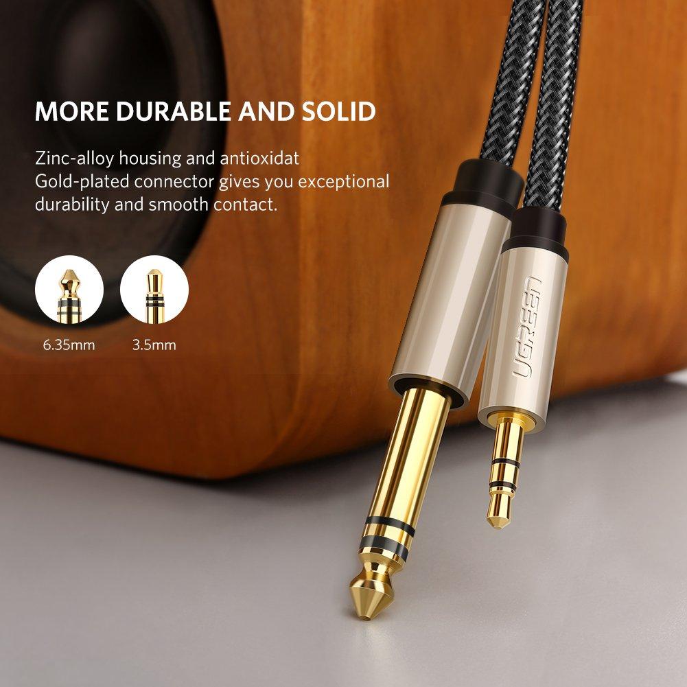 Mixer Audio Tablet 2 m Ugreen 10628 Cavo audio jack professionale 3,5mm a 6,35mm in nylon per collegare Smartphone Amplificatore PC con Altoparlante Chitarra