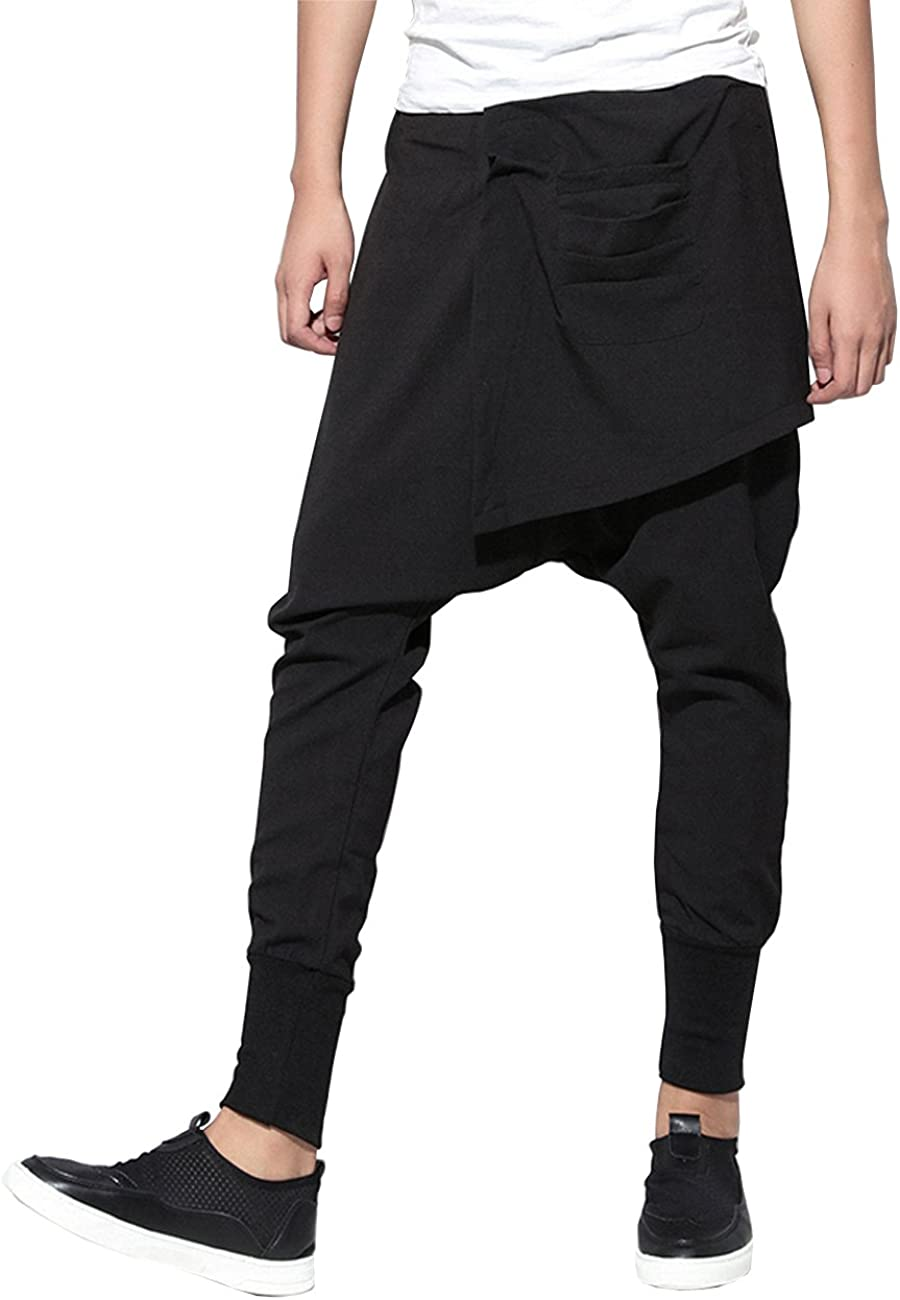 ellazhu Men Casual Elastic Waist Harem Pants Joggers Trousers GYM109