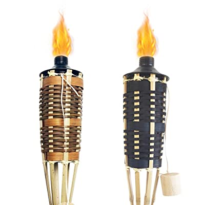 DikaSun Bamboo Torches, 57'' Classic Weave Decorative Torch for Party and Camping, Easy Pour (2 Pack, Brown & Black) : Garden & Outdoor