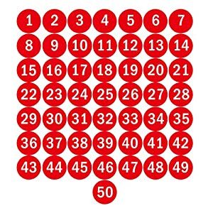 Amazon Com Navadeal 3 Quot Red Round Number 1 50 Sticker Identify Symbol Inventory Storage Labels