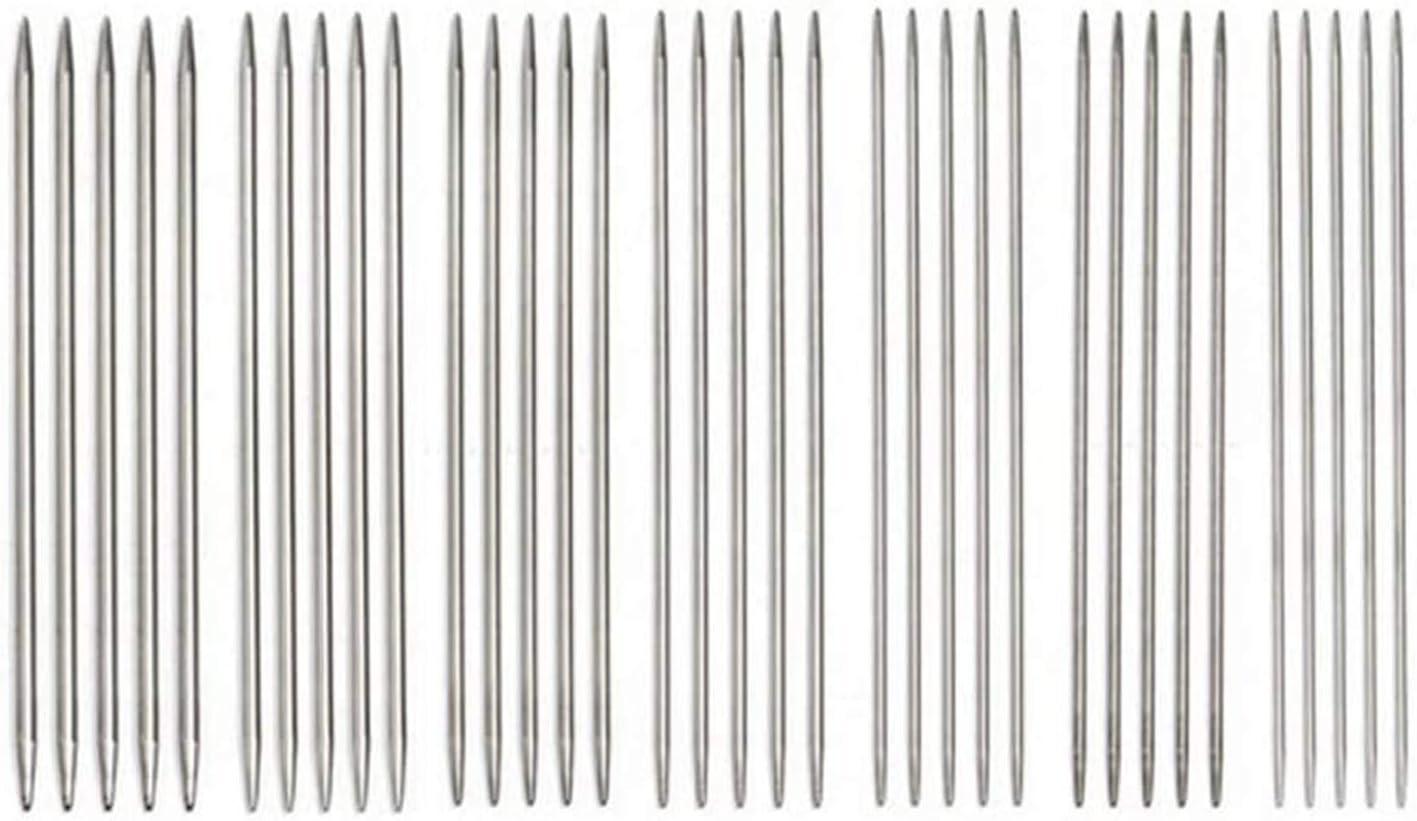 35 piezas agujas de tejer de doble punta, agujas de tejer de acero inoxidable de doble punta, aguja de tejer de acero inoxidable, aguja de tejer, 7 tamaños, 2-5 mm (S-35)