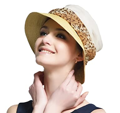 dc3a769c LAI MENG FIVE CATS Womens Straw Sun Hat with Leopard Print Band ...