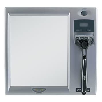 Zadro LED Lighted Fogless Mirror With LCD Clock
