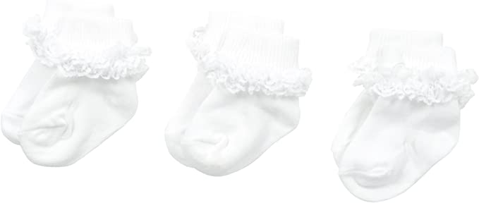 Jefferies Socks Baby Girls Double Row Lace 3 Pair Pack Socks