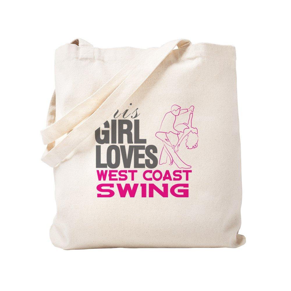 CafePress – This Girl Loves West Coast Swing – ナチュラルキャンバストートバッグ、布ショッピングバッグ S ベージュ 1418059958DECC2 B0773Q6WY5 S