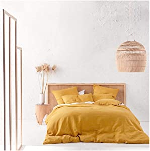 Eikei Washed Cotton Chambray Duvet Cover Solid Color Casual Modern Style Bedding Set Relaxed Soft Feel Natural Wrinkled Look (Queen, Mango Yellow)