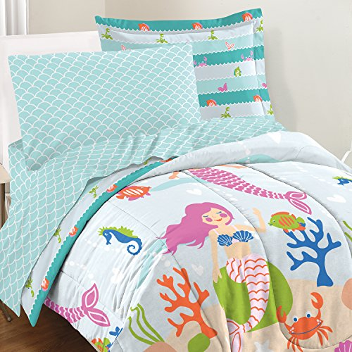 dream FACTORY Mermaid Dreams Comforter Set, Full, Light (Little Mermaid Comforter)