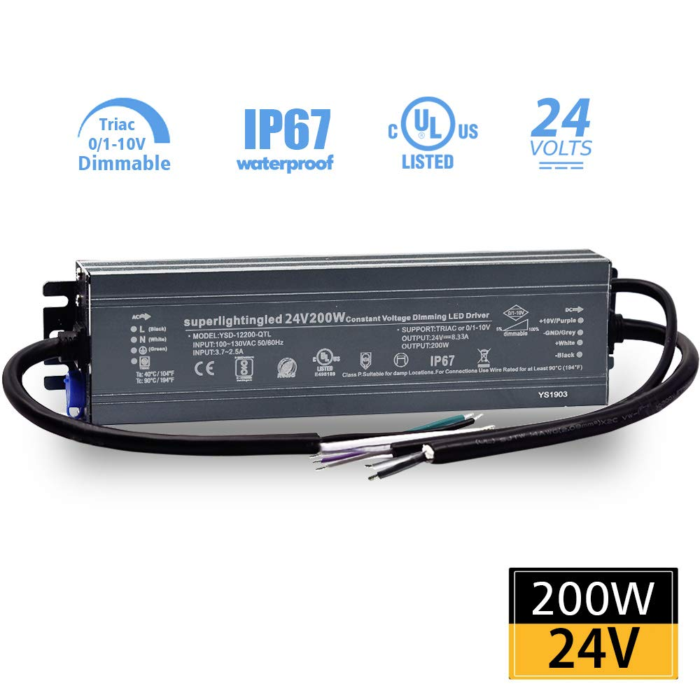 DC24V 200W UL-Listed 0/1-10V and TRIAC Waterproof IP67 Dimmable Power Supply for IP68 Dimming LED Strip Lights, Outdoor Pool 24V LED Underwater, Wash Wall, Use in Water or Soil by SuperLightingLED