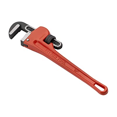 Jetech 10 inch (250mm) Straight Pipe Wrench, Adjustable Heavy Duty Plumbing Wrench with Floating Hook Jaw and I-Beam Handle