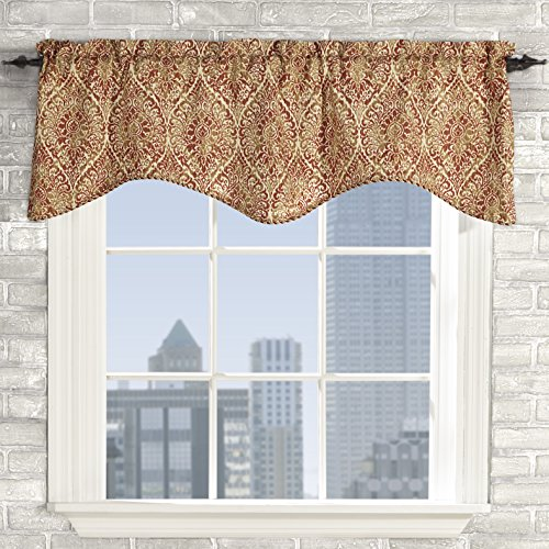Curtain Lola - Stylemaster Home Products Twill and Birch Lola Lined Scalloped Valance with Cording, 52 by 17-Inch, Rust