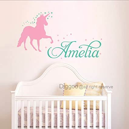 Amazon.com: Personalized Girls Name Wall Decal Unicorn Wall Decal ...