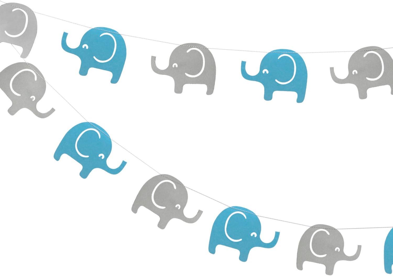 Elephant Garland Decorations, Boy Elephant Baby Shower Banner, Elephant Birthday Party Decor (Blue, Grey) 10 Feet, 24PCS