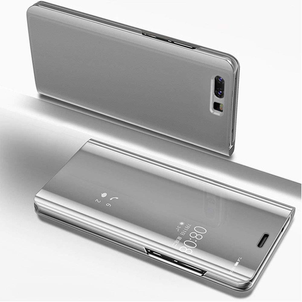 HMTECH Huawei Y6 2018ケースクリアビューウィンドウメッキメッキスタンドミラーフリップウルトラスリムフルボディ財布キックスタンドブックスタイルカバーHuawei Y6 2018、ミラーPUシルバー   B07GYZLMDJ