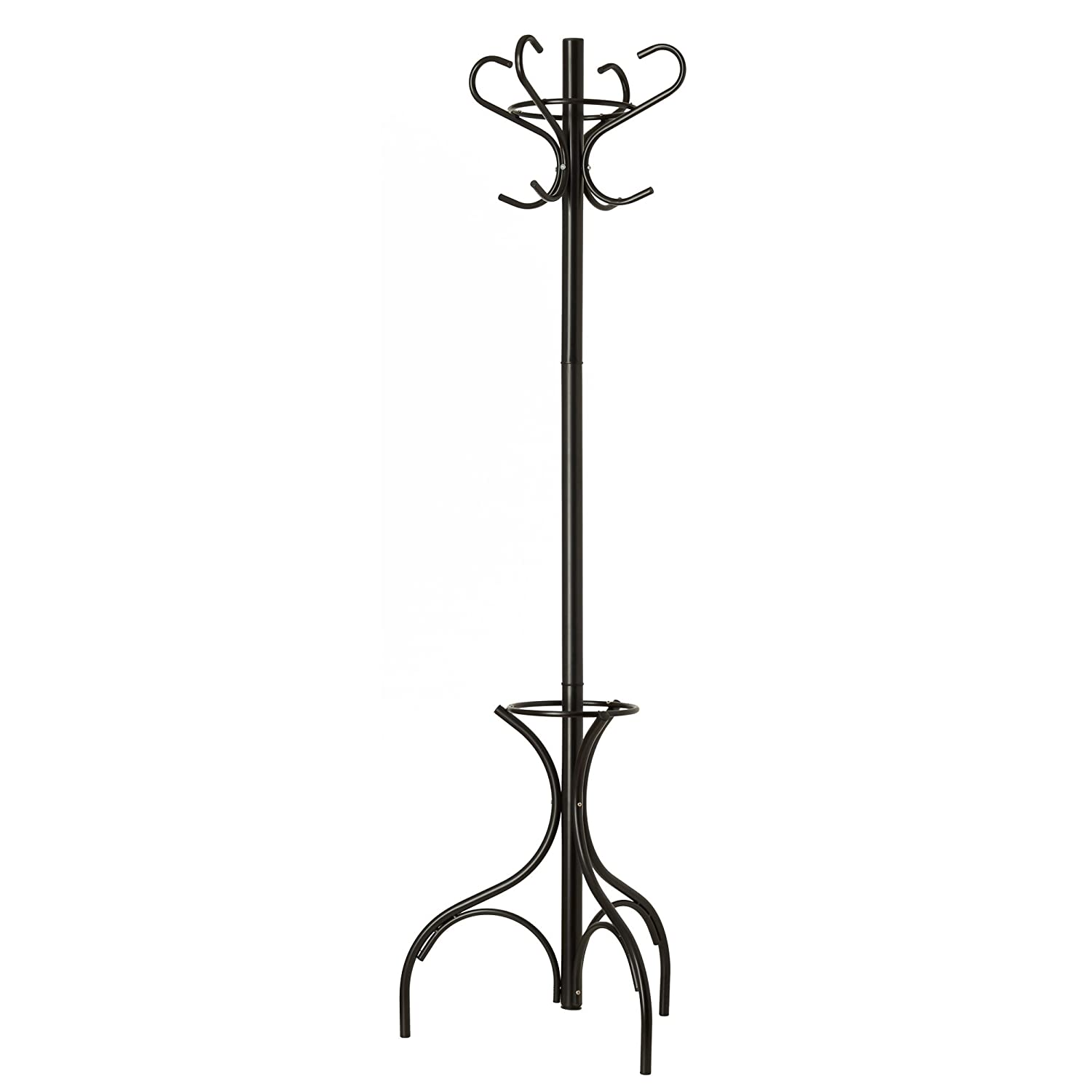 GrayBunny GB-6807 Metal Coat Rack, Hat Stand, Umbrella Holder, Hall Tree, Black, For Home or Office
