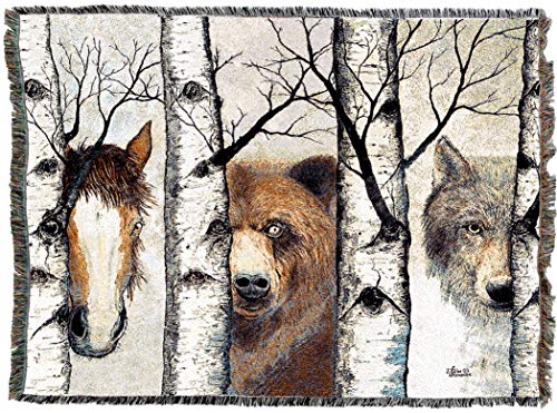 Pure Country Weavers | Trio Horse Bear Wolf Wild Woven Tapestry Throw Blanket with Fringe Cotton USA 72x54