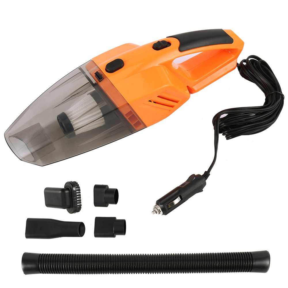 WarmCare Car Vacuum Cleaner 120W 12V Mini Wet Dry Portable High Power Suction Handheld 3.5Kpa Automotive Cleaners Tools Car Truck VAN with 16.4FT (5M) Cord Multiple Attachments Orange by WarmCare (Image #1)