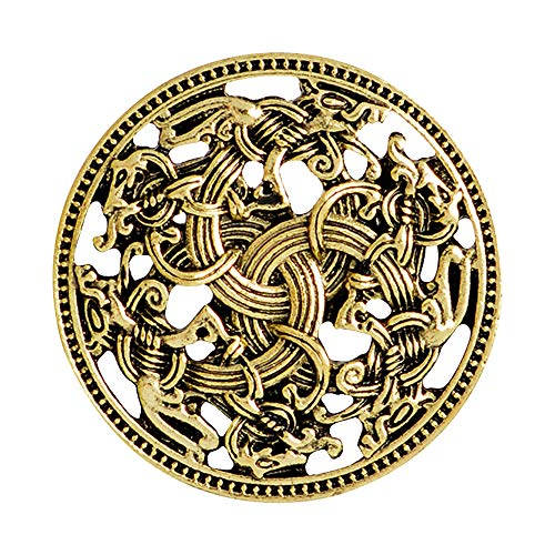 QIHOO Norse Medieval Viking Shield Symbol Brooch Celtic Norse Vintage Jewelry (Gold) (Large Brooch Round)