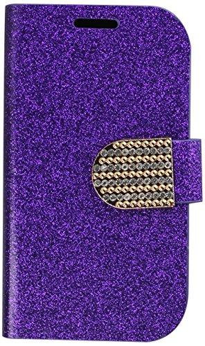 HR Wireless Shiny PU Leather Bling Flip Wallet Credit Card Case for Samsung Galaxy Exhibit - Retail Packaging - Purple (Samsung Galaxy Exhibit Case Bling)