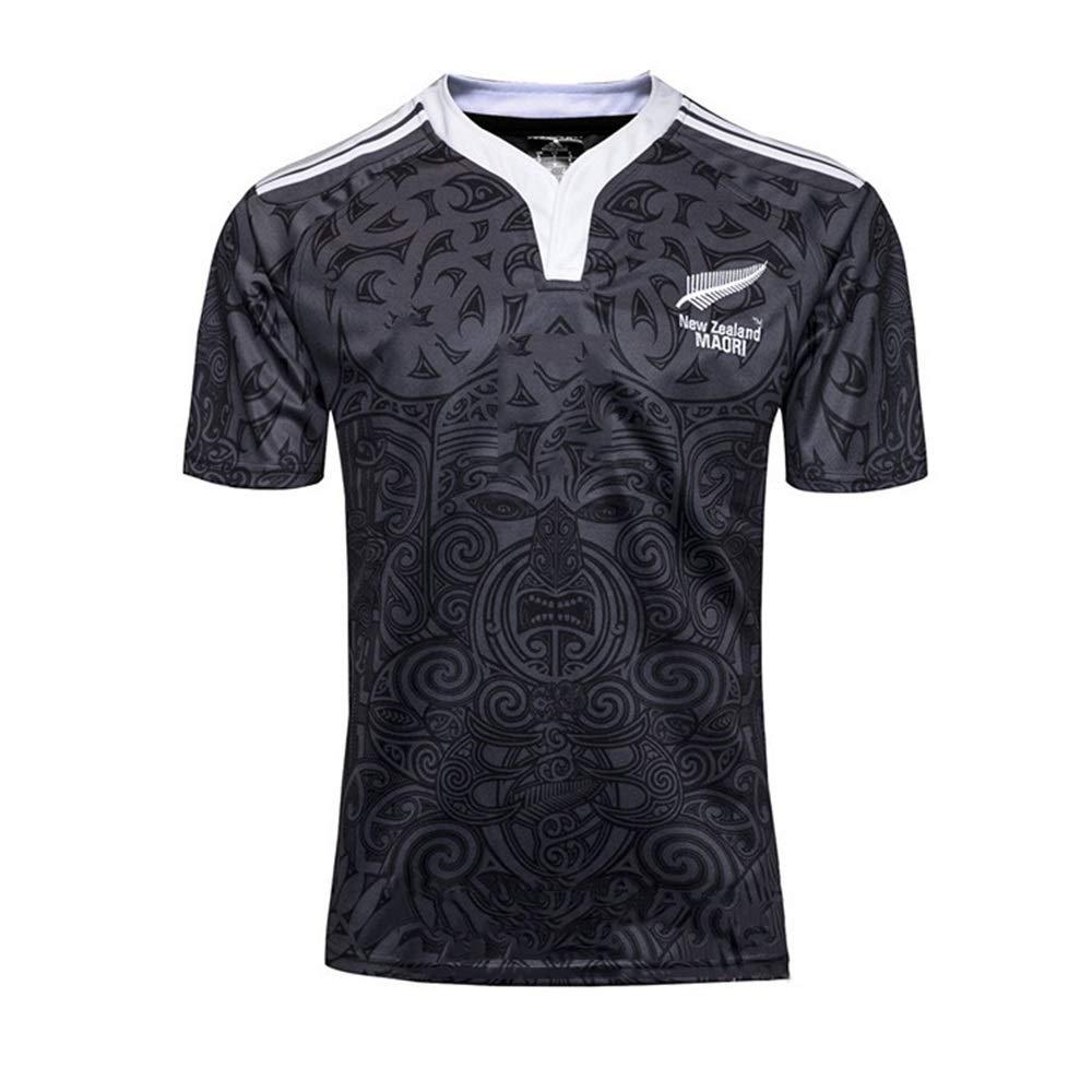 Casual T-Shirt Nuova Zelanda all Black della Squadra Centennial Edition Calcio Abbigliamento Sport Sudare-Assorbente Uomo a Manica Corta Axdwfd Abito da Rugby Rugby Completo Size : S