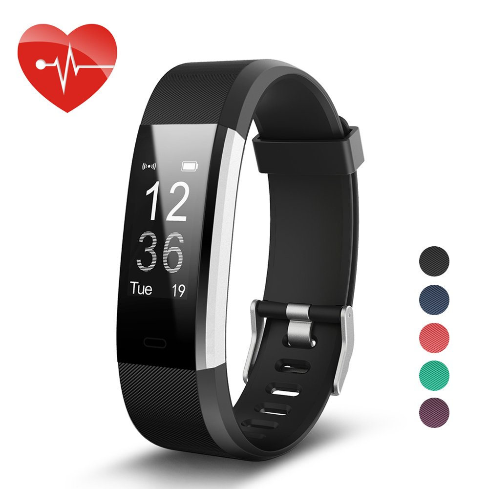 007plus Fitness Tracker HR, ID115 Plus Activity Tracker with Heart Rate Monitor, IP67 Waterproof Smart Watch with Step Counter Calorie Counter Sleep Monitor Pedometer Watch for Kids Women Man (Black)
