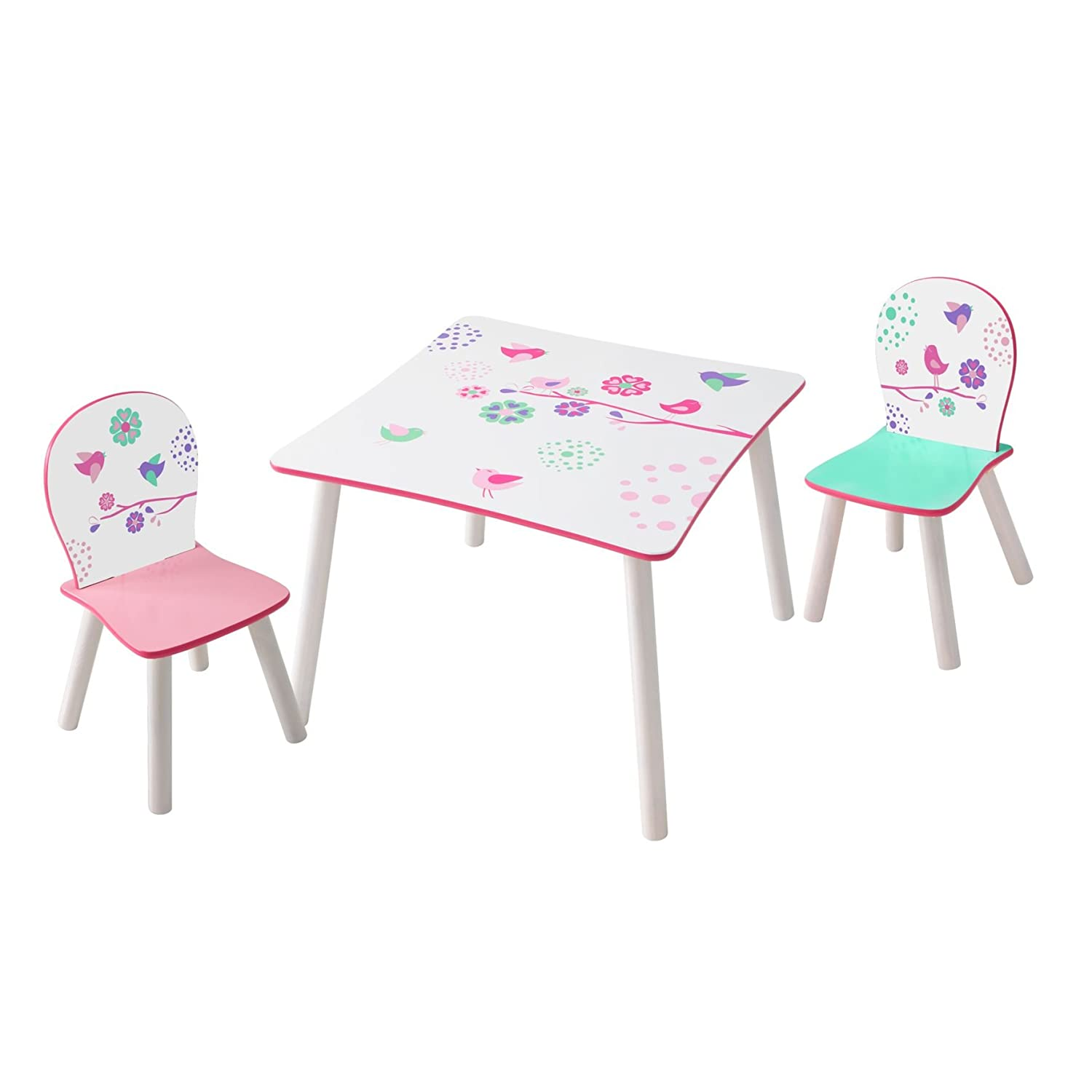 Flowers and Birds Kids Table and 2 Chair Set by HelloHome Worlds Apart 527FLW