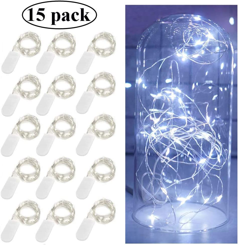 Decem Fairy String Lights, 15 Pack 10ft 30 Micro Starry LED String Lights Battery Powered Waterproof Silver Wire Firefly Lights for DIY Wedding Party Jars Christmas Home Decoration (Cool White)